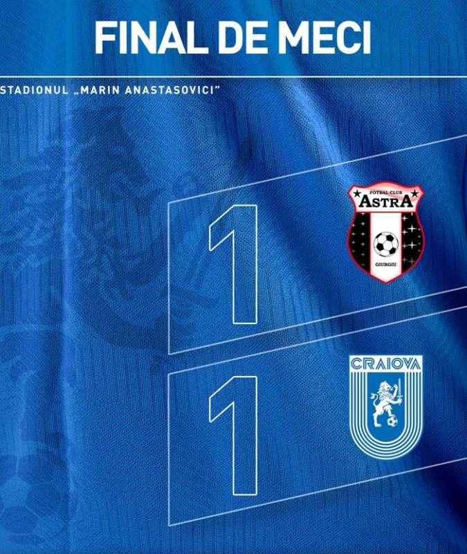 Fotbal - Liga I: Astra Giurgiu - Universitatea Craiova 1-1